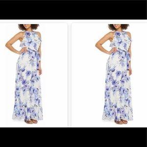 Chetta be chiffon lined print dress,ivory,peri,NWT